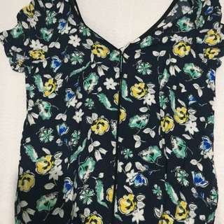 Promod Navy Blue Floral Dress
