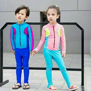 *FREE DELIVERY to WM only / Ready stock* Kids 1pc long sleeves swimsuit each as shown design/color.      Free delivery is applied for this item.     Available: Blue L, 2XL, 3XL     Pink/light blue M, L 2XL     Pink/Blk M, L