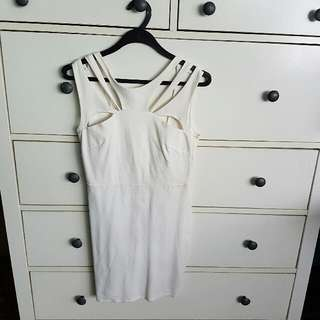 White Mini Party Dress With Cut-outs