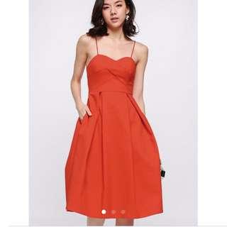 Looking for love bonito Geordie midi dress in vermillion