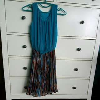 Tuquoise Printed Chiffon Dress