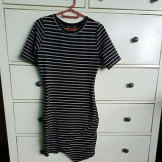 Asymmetrical T-shirt Striped Dress