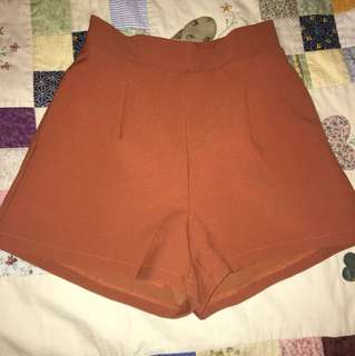 Dark orange high waisted shorts