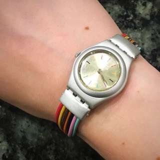Swatch Watch, Bracelet style with Rainbow band 🌈