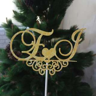 (M.T.O.) Cake Topper Gold Glitter - Monogram of Bride and Groom's Names