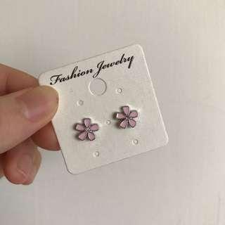🇰🇷韓國帶回 粉色小花 純銀耳環