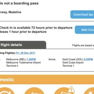Return tickets to Gold Coast