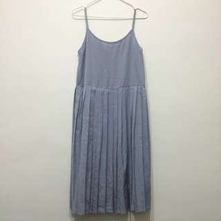 🌵MEIER.Q細肩帶百褶裙 #灰藍色