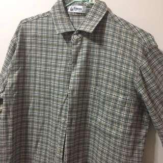 Rawan綠色格紋復古襯衫