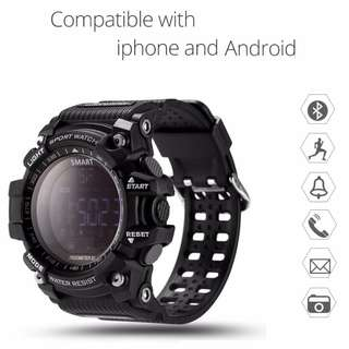 【全防水】智能手錶- Whatsapp wechat 提示 / 來電提示 / 計步 / 計時/卡路里/遙控相機/鬧鐘 / 藍牙 Bluetooth Waterproof Smart Watch Message and Call Reminder Pedometer Sleep Monitor For Samsung Android iPhone IOS EX16