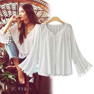 Tassle Long Sleeves Blouse