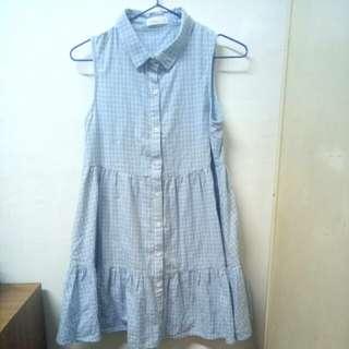 Pazzo 淺藍格子洋裝