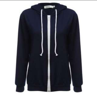STYLISH HOODED LONG SLEEVE PURE COLOR ZIPPER TYPE HOODIE FOR LADIES (DEEP BLUE, SIZE S/M/L/XL) (PRE-ORDER)