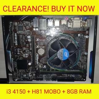 i3 4150 + ASROCK H81M MOBO + 8GB RAM