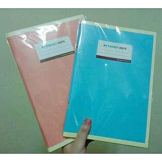 韓風馬卡龍色橫條紋筆記本(粉/藍) #舊愛換新歡