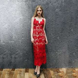 Made to Order Midi Dress in Red V neck Spaghetti Straps Low Back Applique Lace See Through
