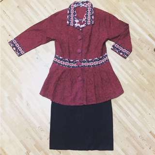 (1 set) Batik Top X Black Skirt