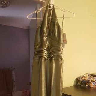 NWT JESSICA MCCLINTOCK GREEN HALTER DRESS (SIZE 8 US)