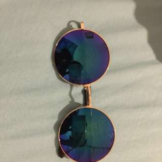 gold rimmed blue reflective round circle sunglasses