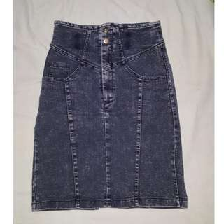 High waist pencil cut denim skirt repriced