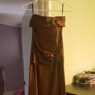 NWOT JESSICA MCCLINTOCK BROWN STRAPLESS DRESS (SIZE 8 US)