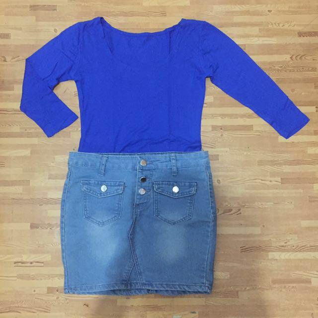 (1 set) mini jeans skirt X blue Dress