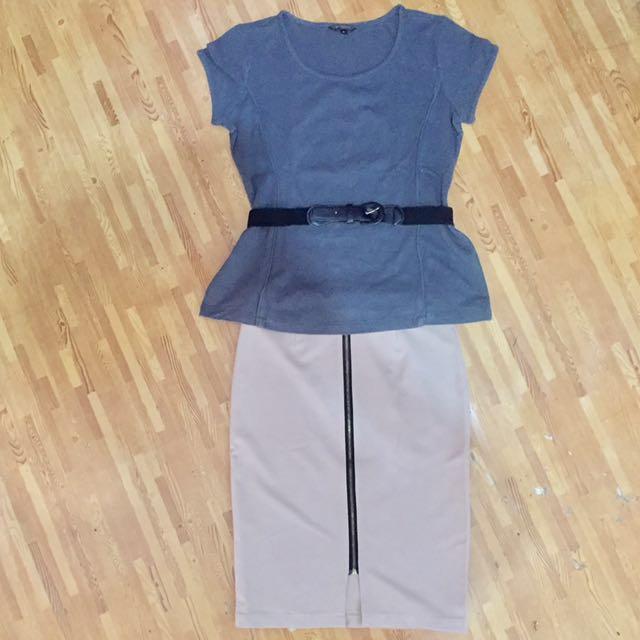 (1 set) The Executive Top X Brown Skirt