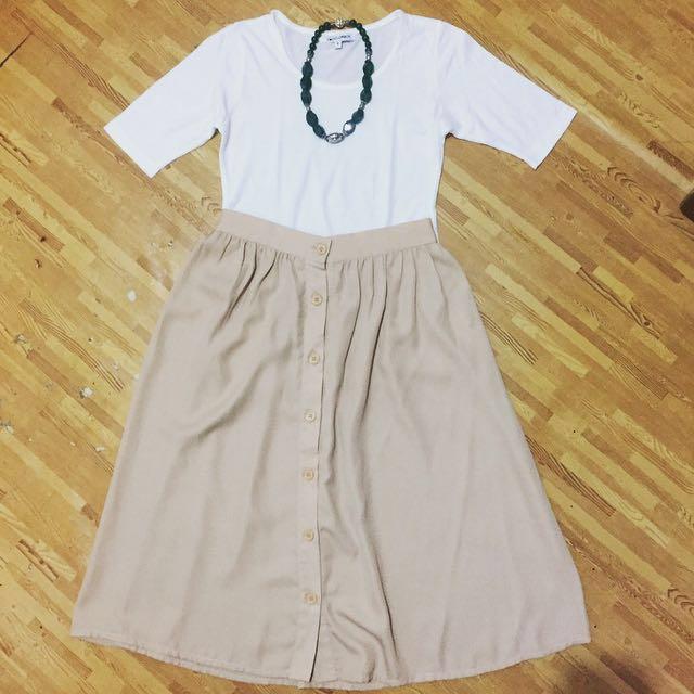 (1 set) top + skirt + necklace