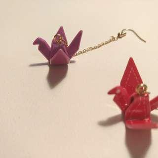 🚚 全新!壓克力紙鶴🐦耳鉤耳環