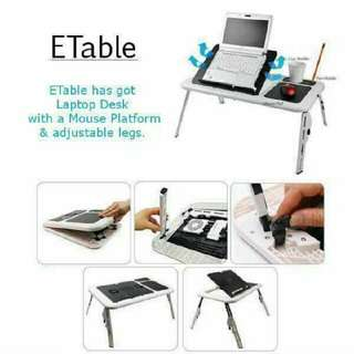 Portable Foldable E Table with Cooling Fan, Mouse Pad, Cup holder and Pen Holder Study Table