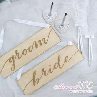 {suitcaseweddings} Rental - Feather Pens & Rustic Chair Signs