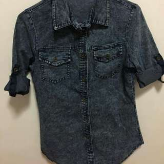 Acid wash blouse top