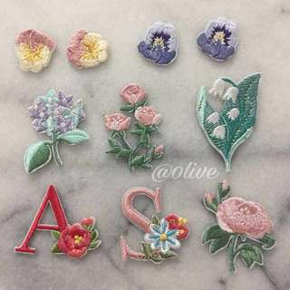 Flower embroidery iron on patches
