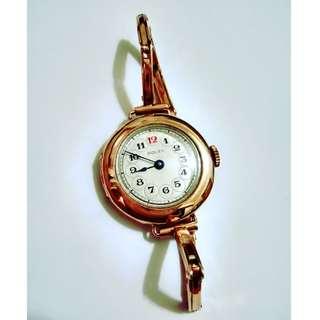 ROLEX 9K玫瑰金手捲鍊中古電話盤原裝手鏈錶
