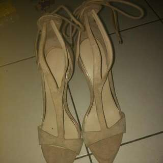 (reduced price)Zara Nude Heels With Long Lace