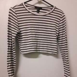 Forever 21 Grey and Green Striped Crop Top