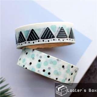 Set of 2 Mint Green Blue Scribble Geometry Washi Tape (T2309)