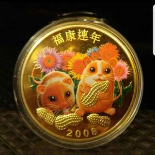2008 Year of Rat Gold Plated Coin
