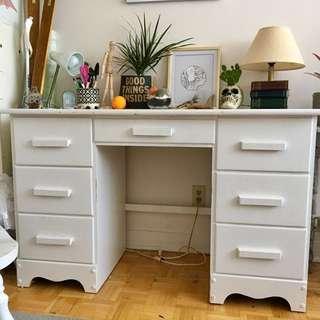 Vintage white wooden desk