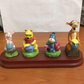 Winnie the Pooh Eeyore Tiger Piglet Disney Ceramic display 正版 迪士尼 陶瓷擺設 木座
