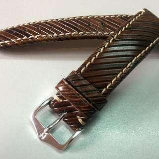 HIRSCH Rivetta Calf Leather Watch Strap (Dark Brown, 20mm)