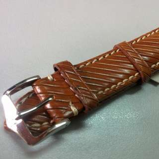 HIRSCH Rivetta Calf Leather Watch Strap (Honey Brown, 20mm)