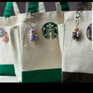 Starbucks tote bag with keychain
