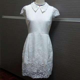 MOMA 白色襯蕾絲洋裝