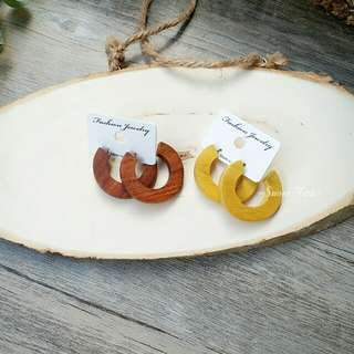 正韓 木紋C圈耳環