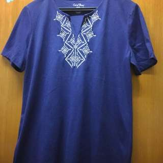 Dark Blue Coral Bay Embossed Tee