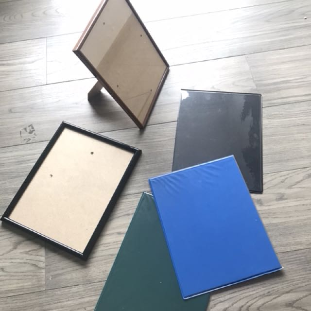 5 frames (2 w/ glass; 3 plastic ones for pics or certificates)
