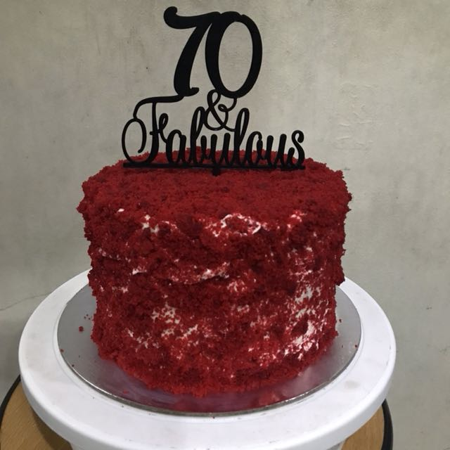 "7""x4"" Red Velvet Cake with Acrylic topper"