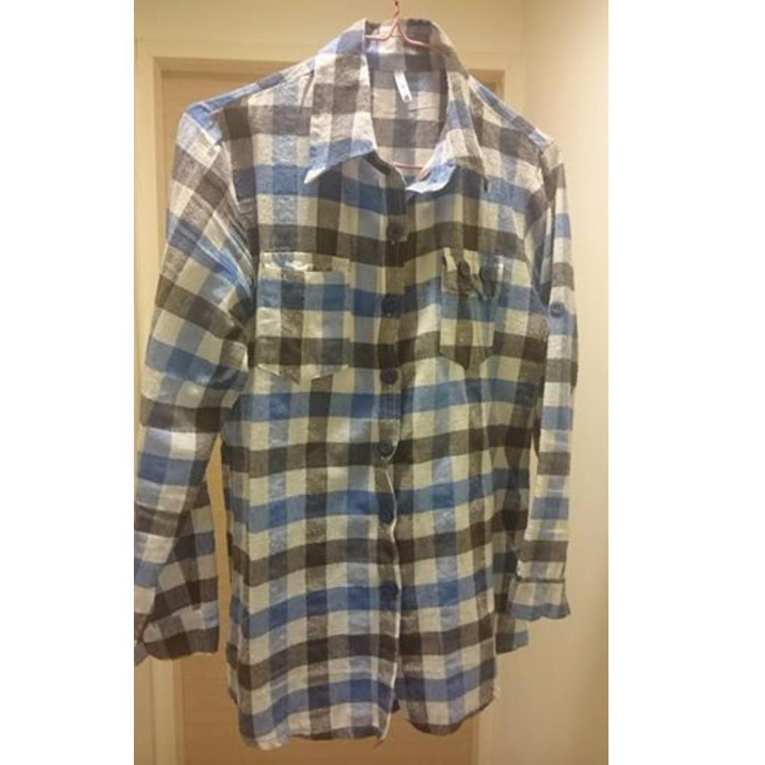 二手藍黑格紋襯衫