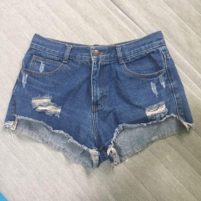 前短牛仔高腰短褲